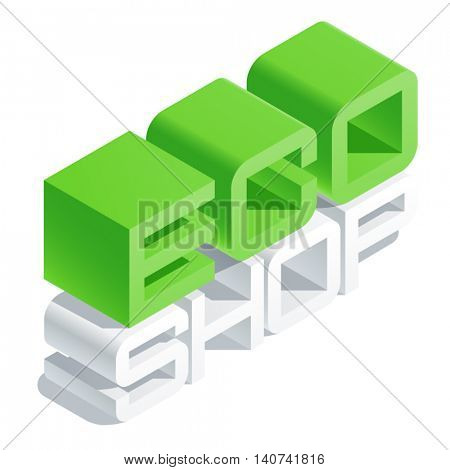 Vector icon with 3D volume letters. Slim three dimensional isometric text Eco shop