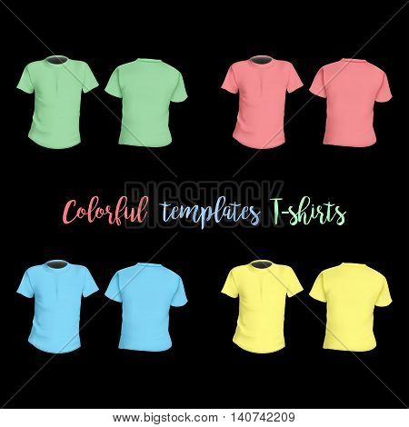 Colorful T-shirts Templates Front And Behind On A Black Background