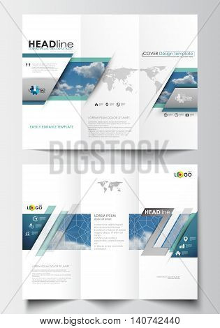 Tri-fold brochure design business templates on both sides. Easy editable abstract blue layout in flat design, vector illustration.