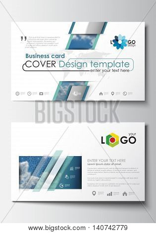 Business card templates. Cover design template, easy editable blank, abstract blue flat layout, vector illustration