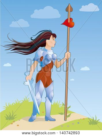 Active woman with a spear looking for a relationship