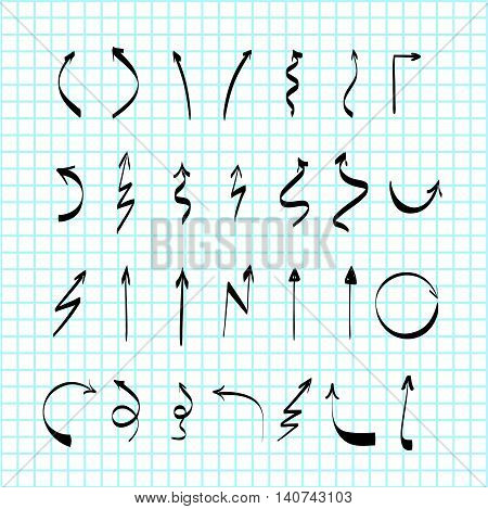 Scribble hand-drawn arrows vector design set, felt-tip pen