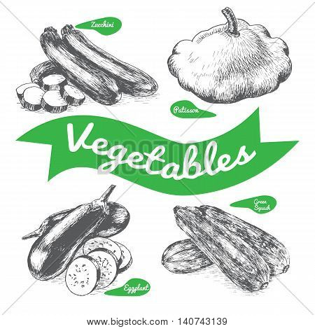 Vector illustration black and white set with vegetables. Different sort of vegetables on white background