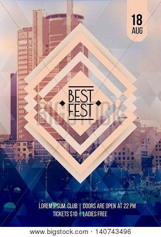 Best festival. Flyer template. Vector illustration with megalopolis. Panorama of the city on background. Eps 10