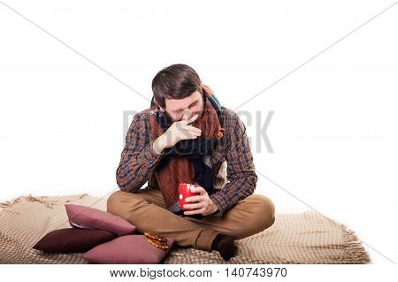 Healthcare, Flu, People, Rhinitis And Medicine Concept - Ill Man Blowing His Nose With Paper Napkin