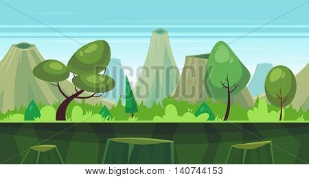 Seamless background for games apps or mobile development. Cartoon nature landscape with forest and mountains. Vector illustration for design graphics print or book . Stock illustration.