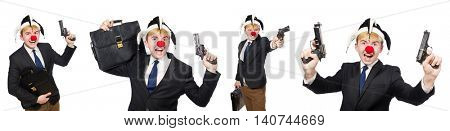 Businessman clown in funny concept isolated on white