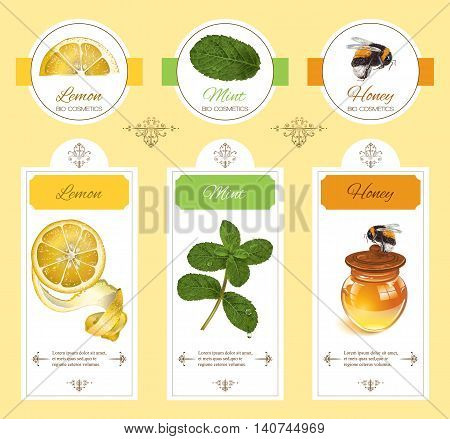 Vector natural cosmetic banner with lemon, mint and honey. Design for natural cosmetics, beauty store, beauty salon, organic health care products, grocery, homeopathy, aromatherapy.