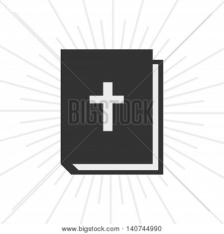Icon Book Bible In Flat Style And Burst Background