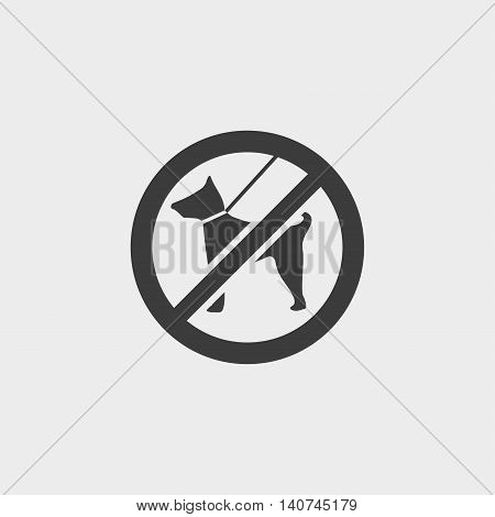 No dog icon in a flat design in black color. Vector illustration eps10