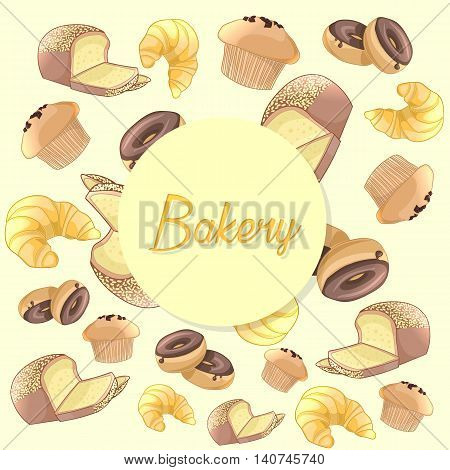 Colorful bakery products pattern. Bread, croissant, donuts and muffin. Vector background