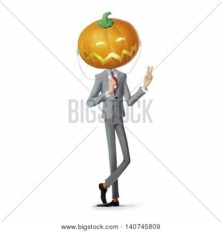 llustrations  man with a pumpkin on his head,halloween