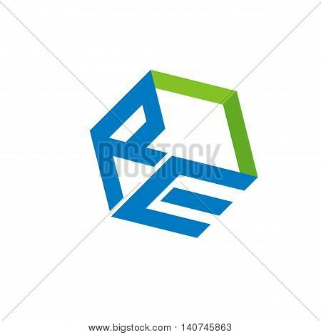 RE letter with box 3d style Business design template logo icon