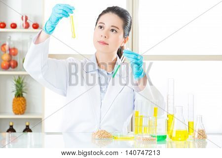 Female Scientist Looking For New Genetic Modification
