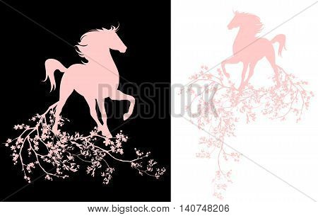 spring season blossom decorative design - horse and blooming branches vector art