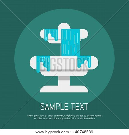 Fountain with water icon flat vector illustration concept