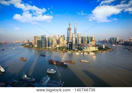 Shanghai city skyline panoramic view, Shanghai China