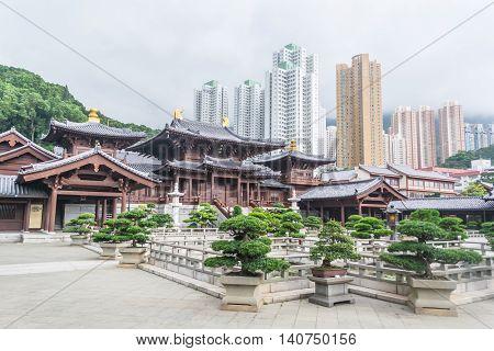 HONG KONG - MAY 26: Chin Lin nunnery is a famous Buddhism temple on May 26 2016 in Hong Kong.