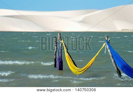 Hammocks in Tatajuba lake in Jericoacoara, Brazil