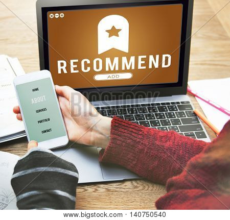 Recommend Bookmark Content Web Online Management Concept