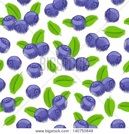 Blueberry bilberry painted vector seamless pattern. Berries background. Painted fruits. Hand drawn paintbrush sketch.