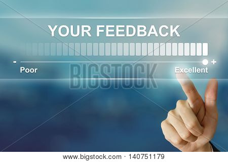 business hand pushing excellent your feedback on virtual screen interface