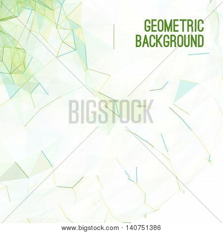 Abstract colorful triangulated green geometric background, vector illustration