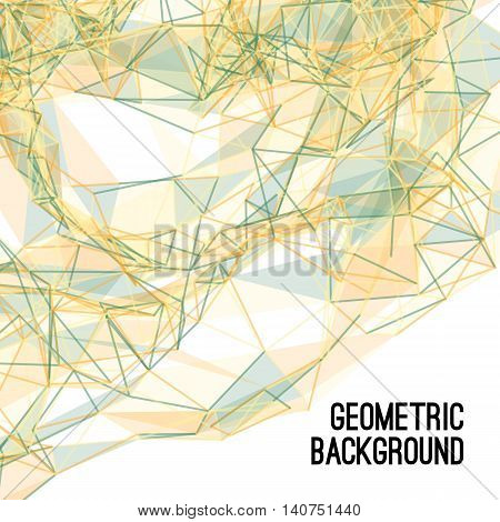 Abstract colorful triangulated yellow geometric background, vector illustration