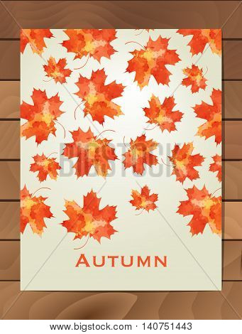 Autumn watercolor card. Wreath of autumn leaves. Background with hand drawn autumn leaves. Fall of the leaves. Sketch design elements. Vector illustration