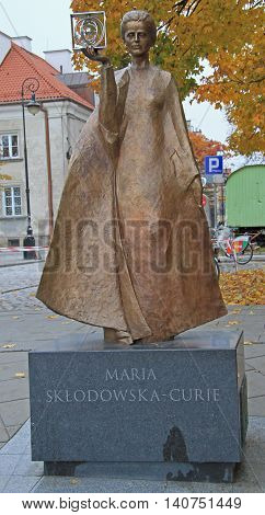 Warsaw, Poland - October 24, 2015: Sculpture of Marie Sklodowska-Curie by polish sculptor Bronislaw Krzysztof. The Nobel prize winning scientist is holding a graphic symbol of Polonium in her hand