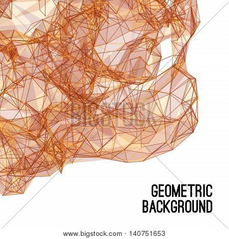 Abstract colorful triangulated brown geometric background, vector illustration