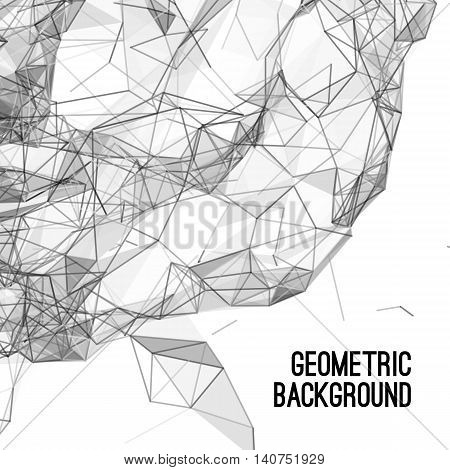 Abstract colorful triangulated grey geometric background, vector illustration