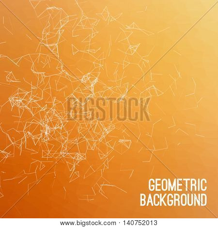 Abstract colorful triangulated orange geometric background, vector illustration