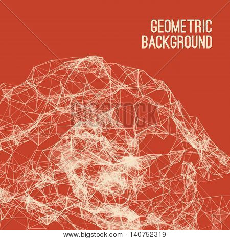 Abstract colorful triangulated geometric red background, vector illustration