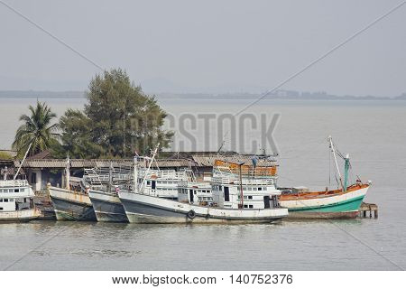 Closeup Fishing Boats in a sea nature background