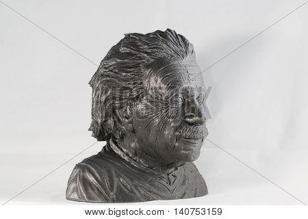 3D printed Albert Einstein Bust in metallic look