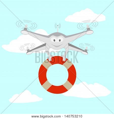 Drone. Rescue on the water. Series cartoon Drones