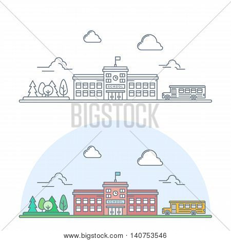 welcome back to school banner. thin line school building with yellow bus. linear education poster. isolated on white background. vector illustration