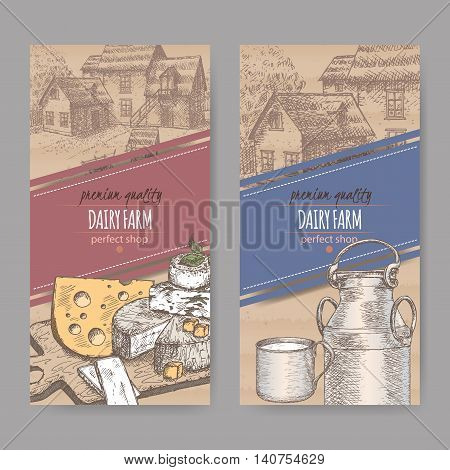 Set of two dairy farm shop labels with farmhouse, color cheese, metal milk jug and cup. Placed on cardboard texture. Includes hand drawn elements.