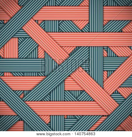 Abstract stripped and lines, red and blue geometric background. Chaotic interweaving strips. Modern stylish graphic texture for design, wallpaper.