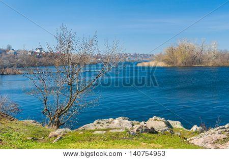 Ukrainian spring landscape with Dnepr river .