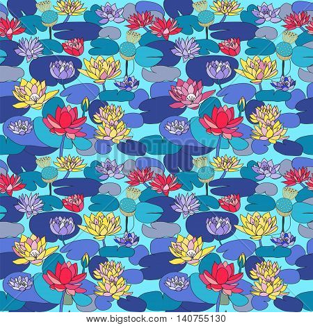 Vector seamless pattern with Beautiful hand drawn lotus flowers and leaves. Sketch floral background Design for card print template wallpaper texture..