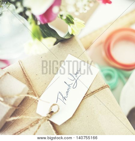 Vintage Present Package Thankyou Message Concept