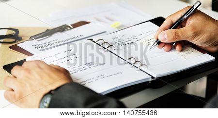 Hands Writing Business Organiser Concept