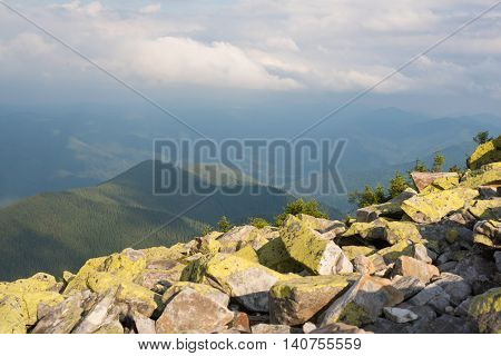 Mountain landscape. Amazing wild nature view of deep evergreen forest landscape on sunlight at middle of summer. Natural green scenery of cloud stones with moss on mountain slopes Ukraine Carpathians.