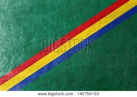 Flag Of Drochia, Moldova, Painted On Leather Texture