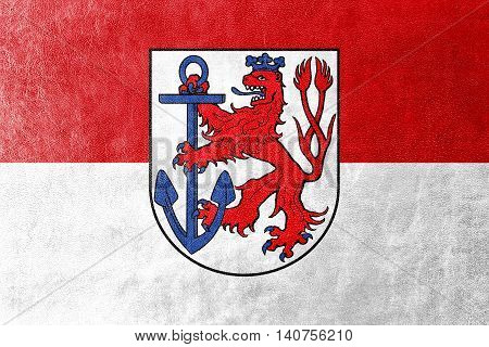 Flag Of Dusseldorf, Germany, Painted On Leather Texture