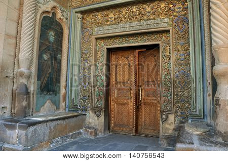 The main entrance to the Etchmiadzin Cathedral in Vagharshapat, Armenia. Which is considered the oldest in the world