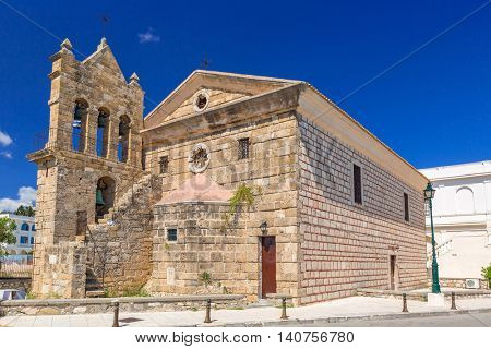 The Church of Saint Nicholas of Mole on Solomos Square in Zakynthos, Greece