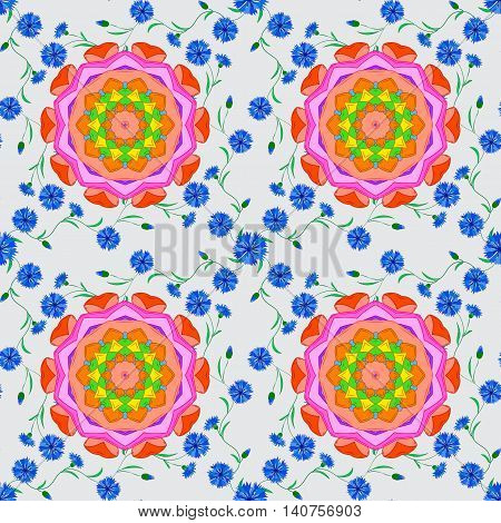 Seamless pattern with stylized blue flowers pink accents. Mandala doilies seamless pattern on white background